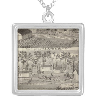 Residence and lumber mills and yards silver plated necklace