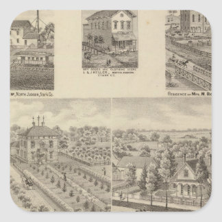 Residence and mill of L & J Keller Square Sticker