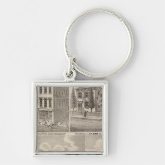 Residence and mill of Samuel Cade, Wabash Tp Silver-Colored Square Keychain