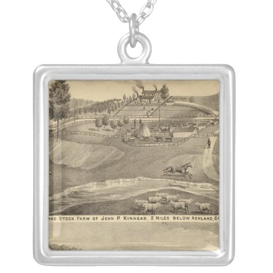 Residence and stock farm silver plated necklace