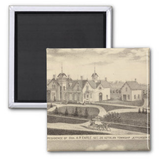 Residence, barn & outbuildings of AR Earle 2 Inch Square Magnet