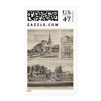 Residence, Farm, Church and Store in Minnesota Postage