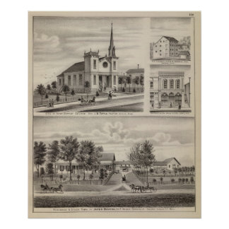 Residence, Farm, Church and Store in Minnesota Poster