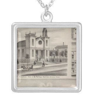 Residence, Farm, Church and Store in Minnesota Silver Plated Necklace