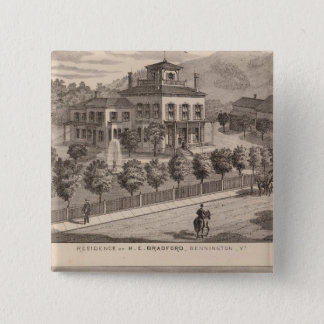Residence of HE Bradford and HE Bradford and Pinback Button