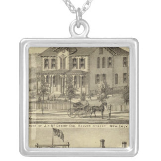 Residence of JH McCreery Sewickly Square Pendant Necklace
