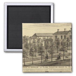 Residence of Steffler and Clark, Rochester 2 Inch Square Magnet