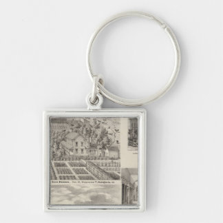 Residence of the late Dr Seth Hobbs Washington Co Silver-Colored Square Keychain