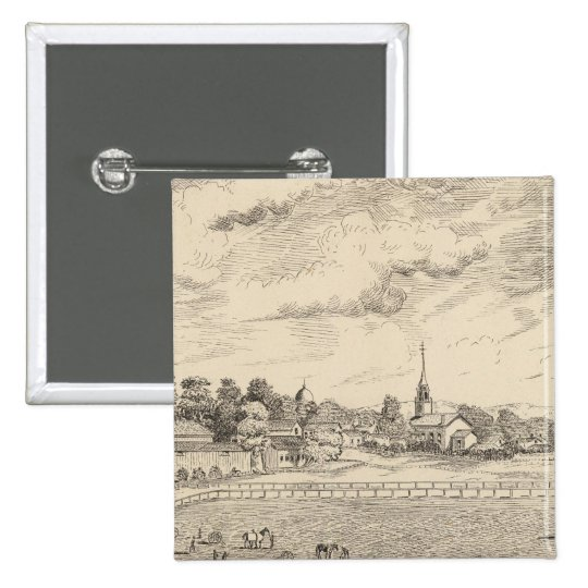 Residence, stables, and driving park pinback button