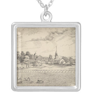 Residence, stables, and driving park silver plated necklace