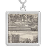 Residences and buildings in Poplar Grove Square Pendant Necklace