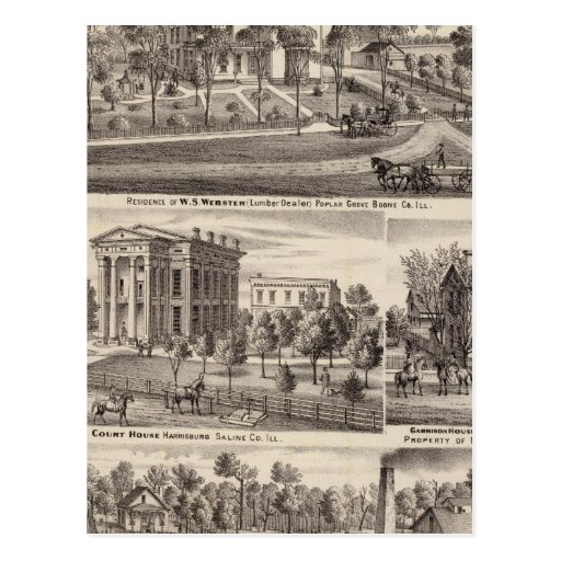 Residences and buildings in Poplar Grove Postcard