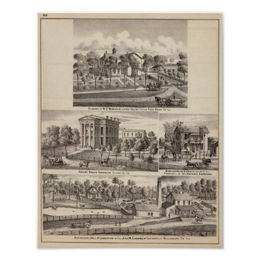 Residences and buildings in Poplar Grove Posters