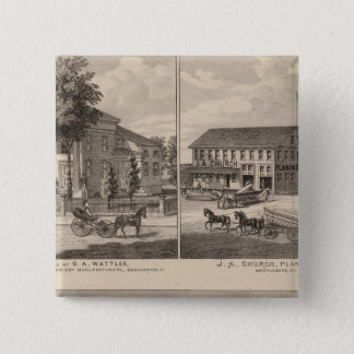 Residences and factory in Bennington Pinback Button