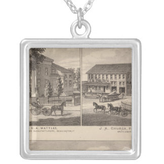 Residences and factory in Bennington Silver Plated Necklace