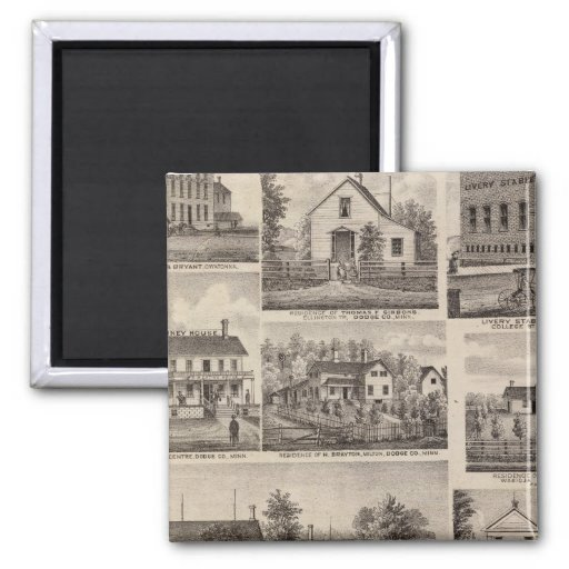 Residences and Farm Buildings, Owatonna, Minnesota 2 Inch Square Magnet
