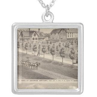 Residences and Farm, Minnesota Square Pendant Necklace
