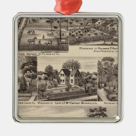 Residences and farms in Edgar, Hardin, Massac Metal Ornament