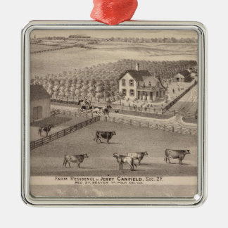 Residences and farms of J Canfield and J Wood Metal Ornament