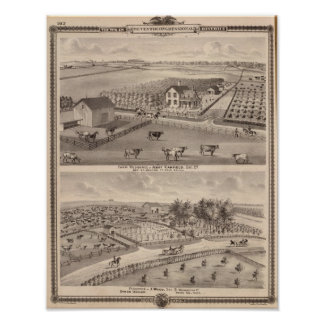 Residences and farms of J Canfield and J Wood Posters