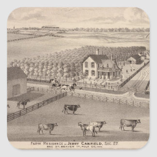 Residences and farms of J Canfield and J Wood Square Sticker