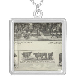 Residences and Stock Farm, Wichita, Kansas Square Pendant Necklace