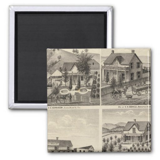 Residences, Brewery, ranch 2 Inch Square Magnet