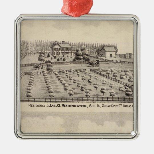 Residences & farm of Warrington Metal Ornament