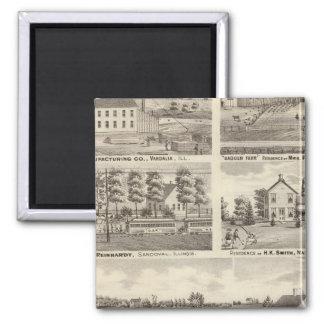 Residences, farms and factory, Vandalia, Sandoval Fridge Magnet