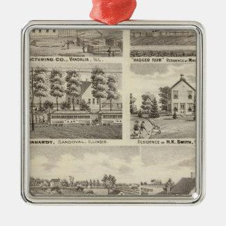 Residences, farms and factory, Vandalia, Sandoval Metal Ornament