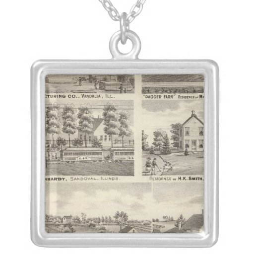 Residences, farms and factory, Vandalia, Sandoval Personalized Necklace