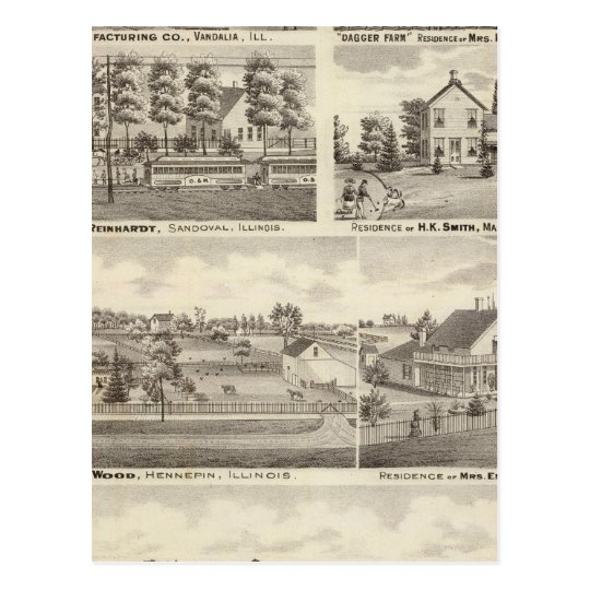 Residences, farms and factory, Vandalia, Sandoval Postcard