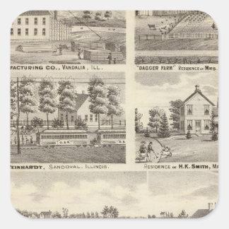 Residences, farms and factory, Vandalia, Sandoval Square Sticker