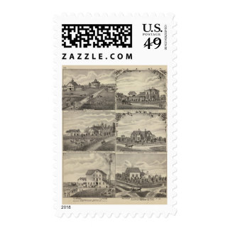 Residences, Farms, Mill in Litchfield, Minnesota Stamp