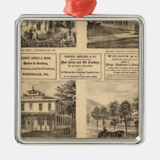 Residences, hotels, Titusville, Franklin Square Metal Christmas Ornament
