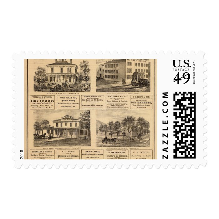 Residences, hotels, Titusville, Franklin Postage Stamp