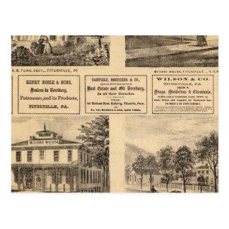 Residences, hotels, Titusville, Franklin Postcard