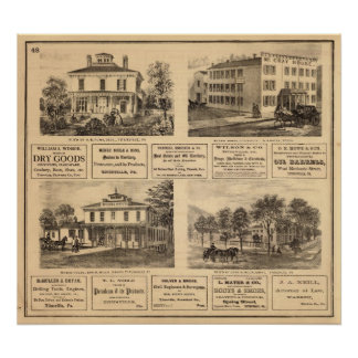 Residences, hotels, Titusville, Franklin Poster