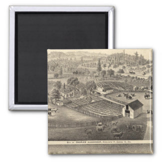 Residences of Charles Alexander 2 Inch Square Magnet