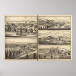 Residences of CP Hatch, Wm Sexton, JM Freeman Print