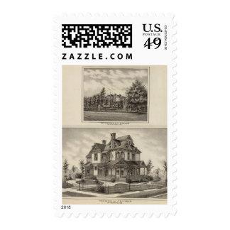 Residences of JR Fisher and MP Simpson, Kansas Postage Stamp
