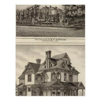 Residences of JR Fisher and MP Simpson, Kansas Postcard