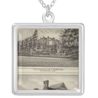 Residences of JR Fisher and MP Simpson, Kansas Silver Plated Necklace