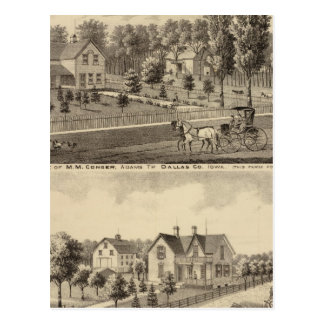 Residences of MM Conger and GW Harrison Postcard
