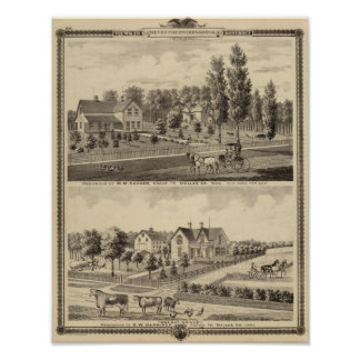 Residences of MM Conger and GW Harrison Print