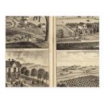 Residences of WA Lewis, John Fritsch, Hugh Gaston Postcard