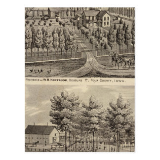 Residences of WH Hartsook and TW Parker Postcard