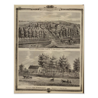 Residences of WH Hartsook and TW Parker Posters