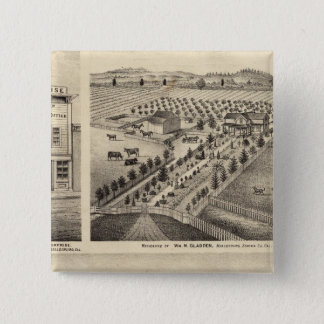 Residences of Wm N Gladden and Mrs Ina B Miller Pinback Button