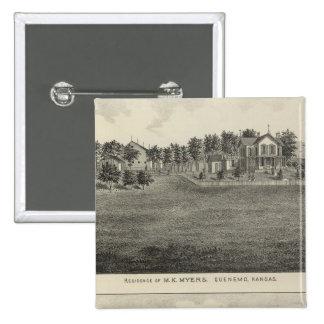 Residences, Quenemo and Lyndon Region, Kansas Pinback Button